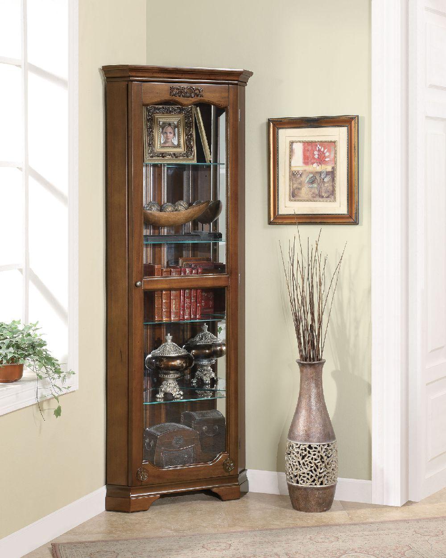 Coaster 950195 wooden golden brown corner curio cabinet ... on Corner Sconce Shelf Cabinet id=68664