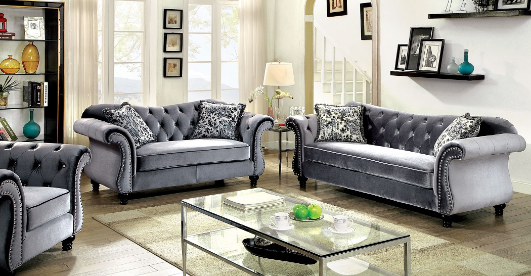 Jolanda Collection CM6159GY Furniture Of America Sofa