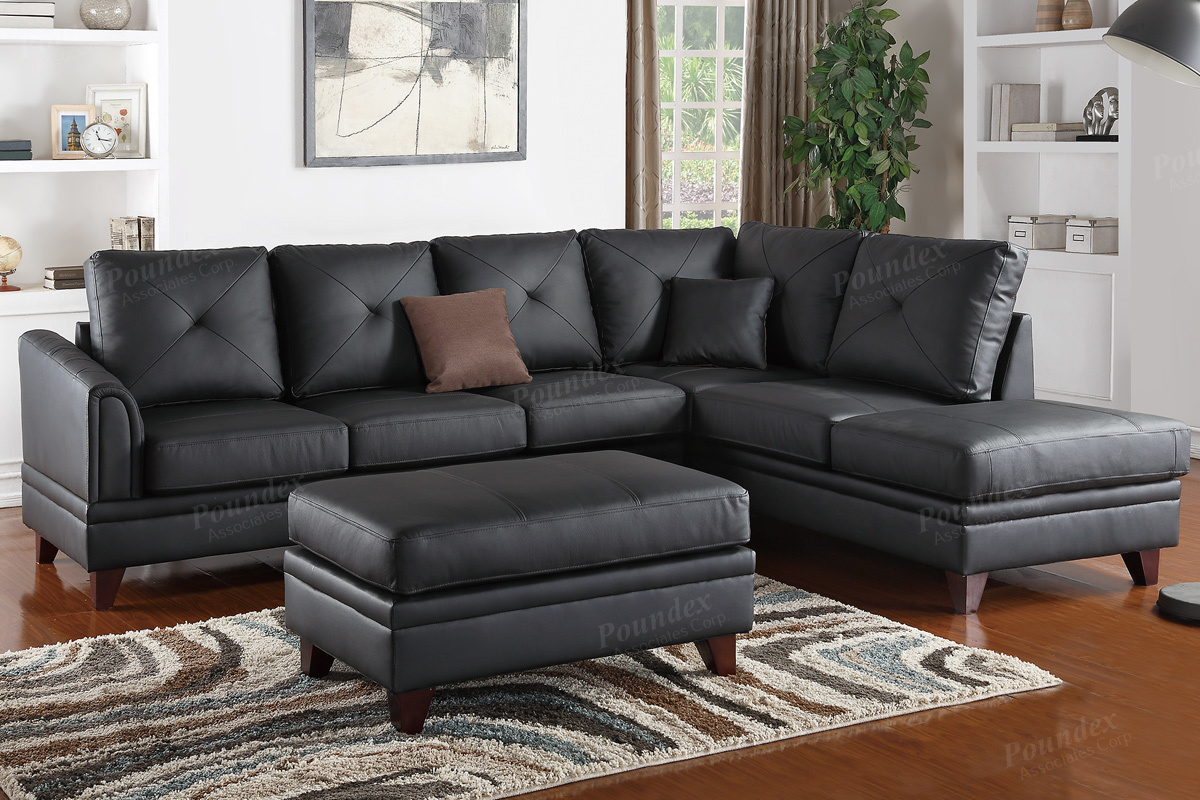 f6872 black top grain leather sectional by poundex