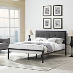 Modway Furniture 5447 Brown Steel King Bedframe With Fabric Headboard