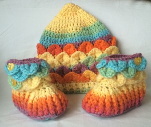 Crochet hat and booties set