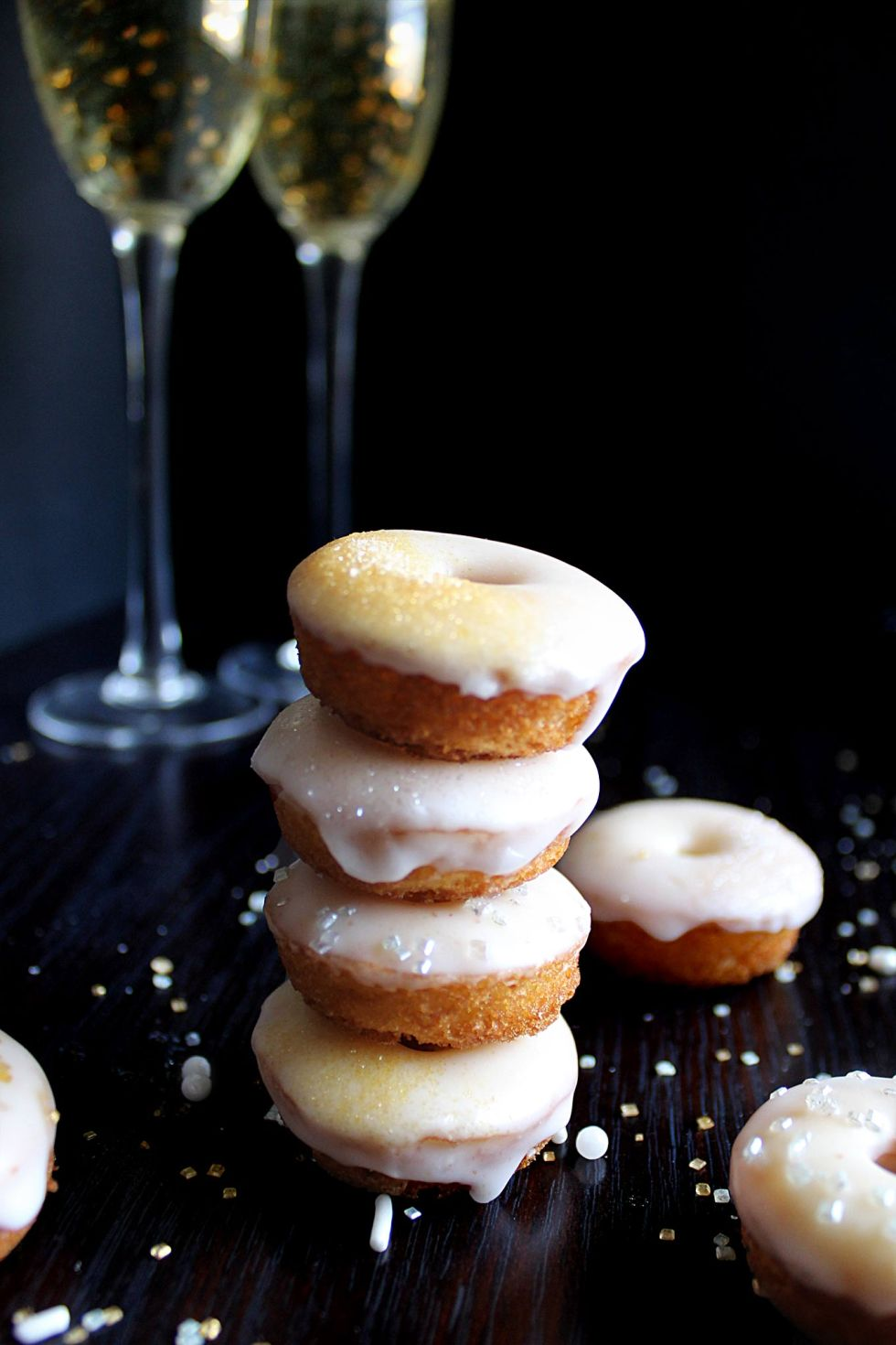 This donut recipe gets a twist with champagne syrup and champagne glaze! A sparkly and elegant treat!