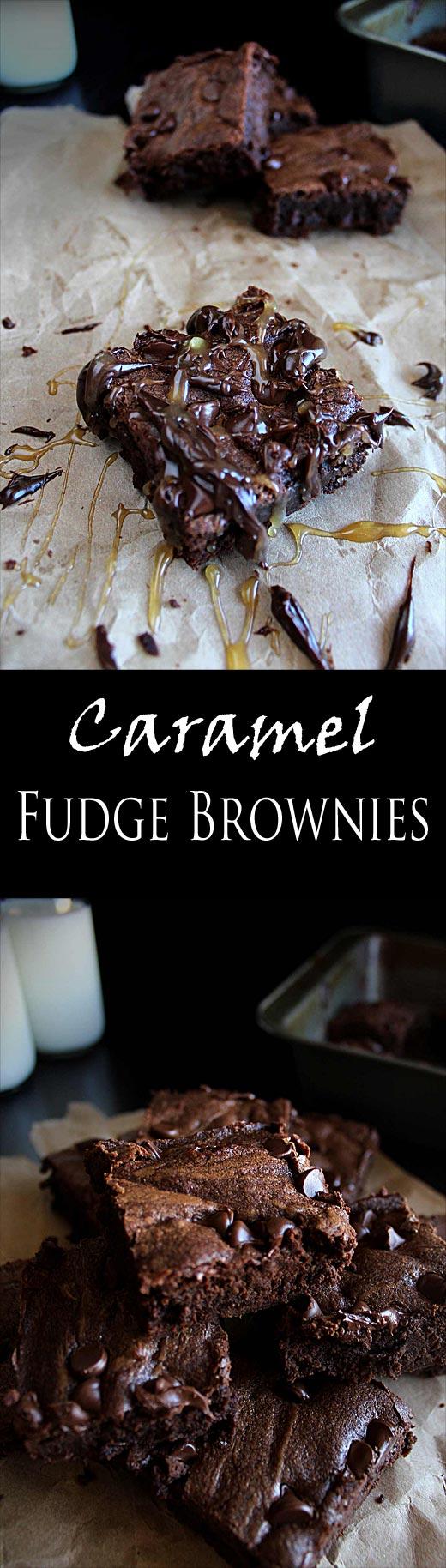 Chocolate Chunk Caramel Fudge Brownies | Chocolate Brownies | Homemade Hot Fudge | Caramel Sauce | Homemade Brownie Recipe