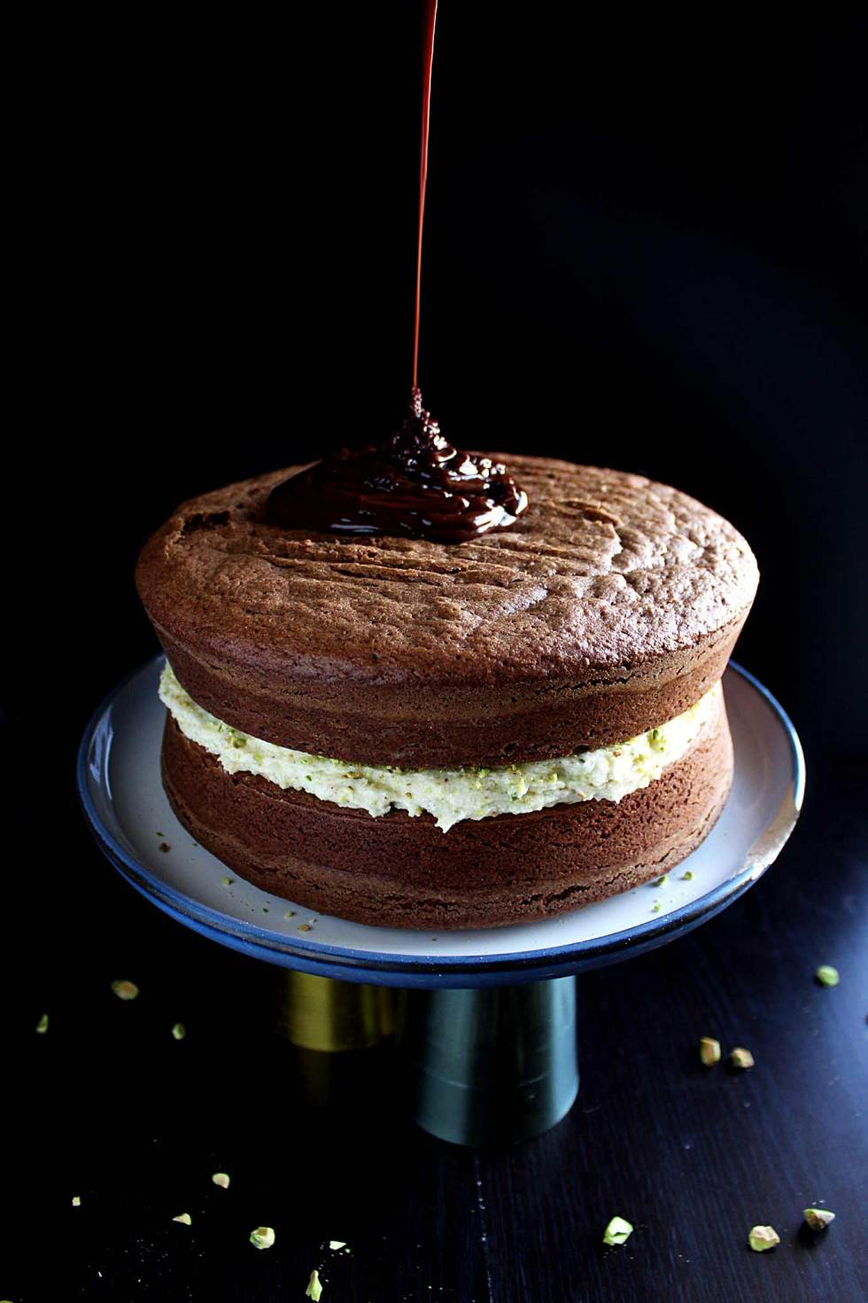 chocolate orange cake | pistachio mascarpone filling | chocolate ganache | fudgey cake | pistachio frosting