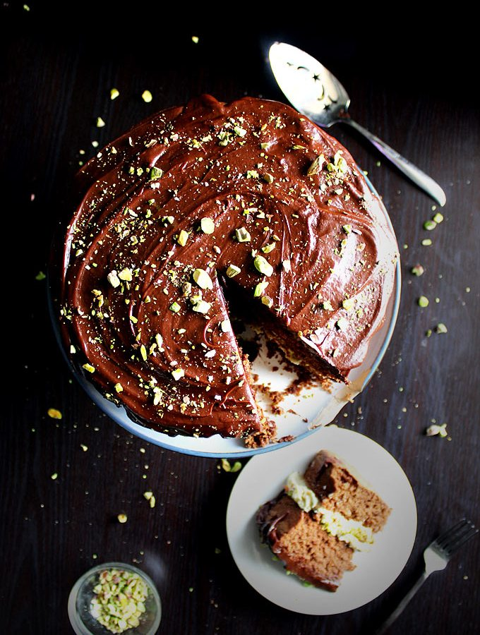 chocolate orange cake | pistachio mascarpone filling | chocolate ganache | fudgey cake | pistachio frosting