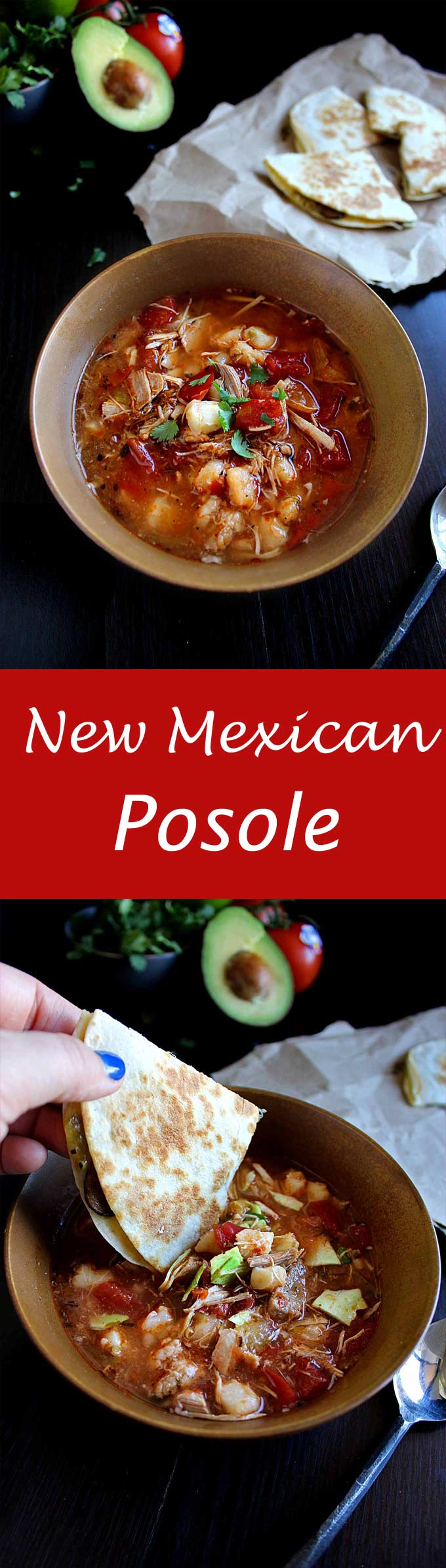 New Mexican Posole - Pork, chicken, hominy, and green chile make this a perfect Winter soup recipe!