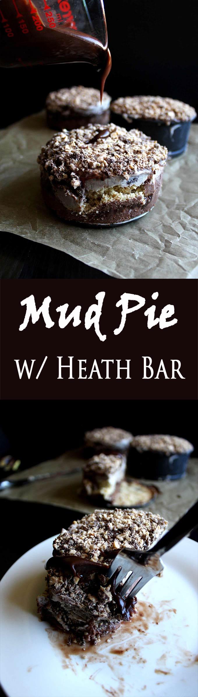 Mud Pie Recipe | Heath Bar | Ice Cream | Crushed Cookies | Homemade Hot Fudge | Dessert