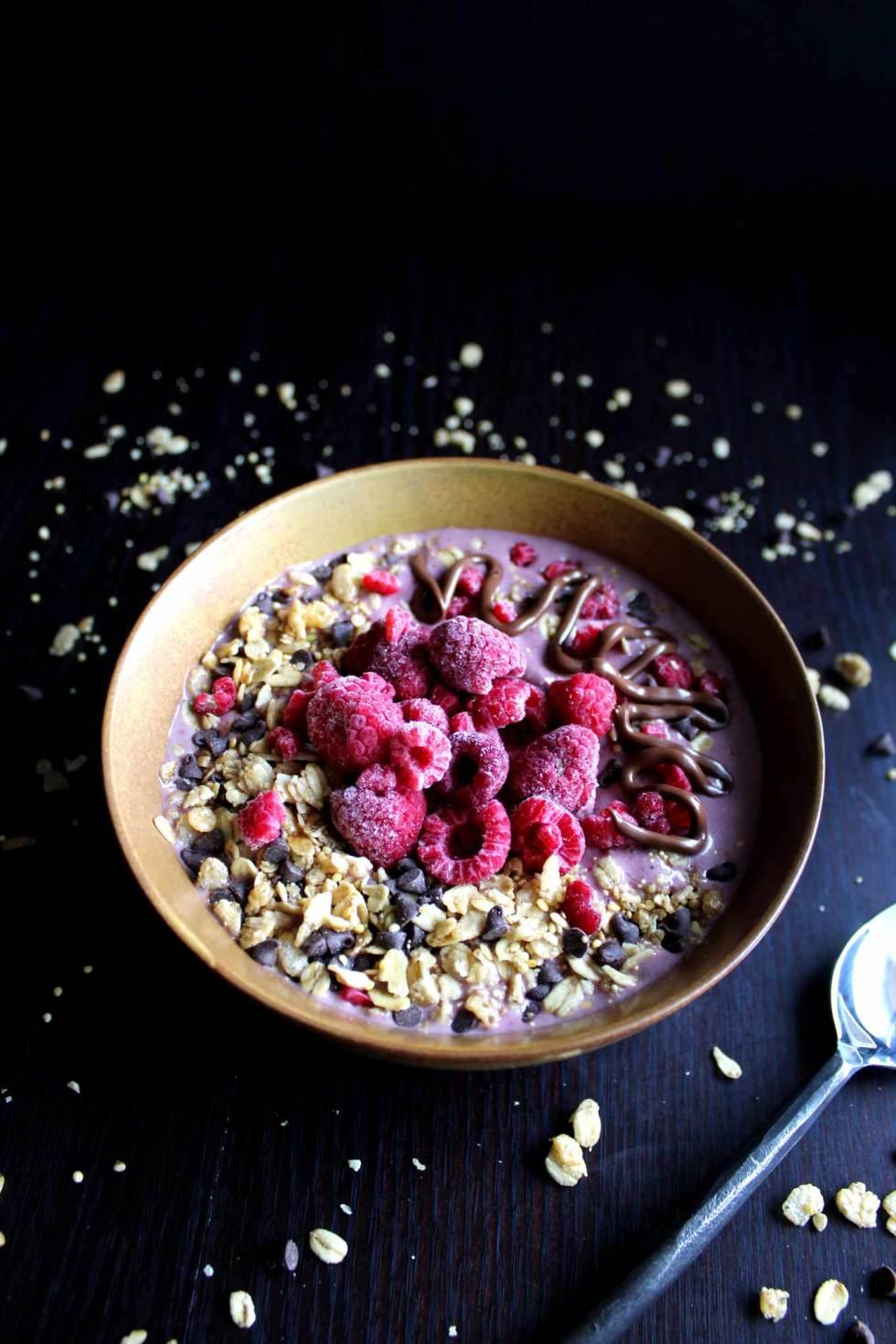 Protein Smoothie Bowl   Protein Shake   Raspberry Nutella   Breakfast   Protein Powder