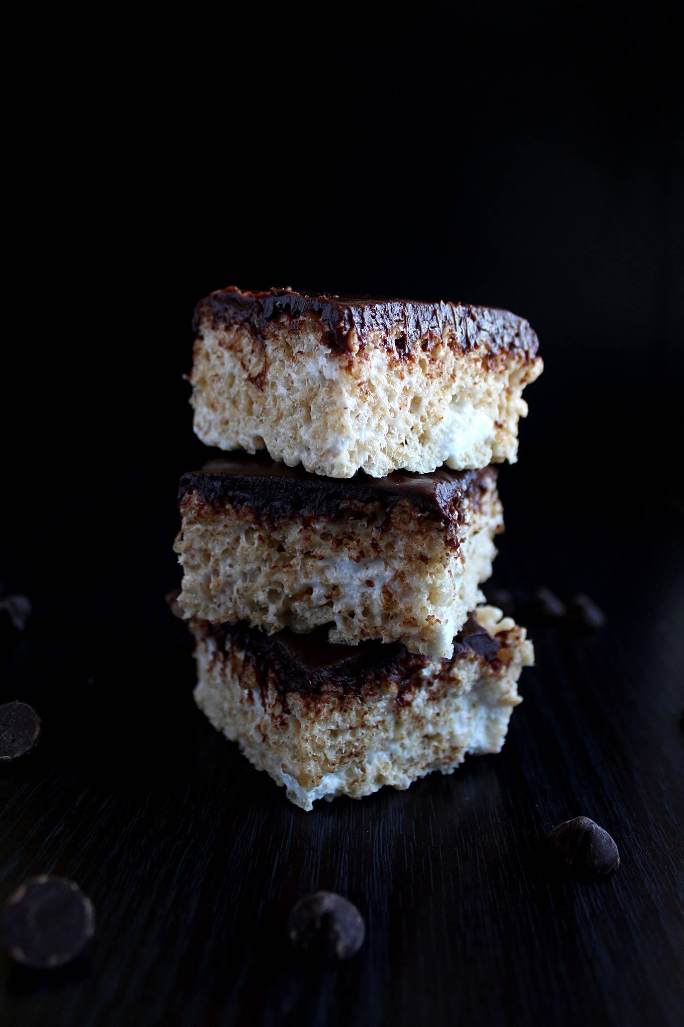 Marshmallow Rice Krispie Treats with Chocolate Ganache ...