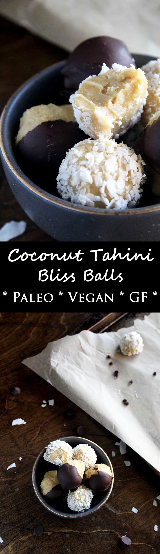 Coconut Tahini Bliss Balls   Paleo   Vegan   Energy Bites   Gluten-Free   Chocolate Dipped