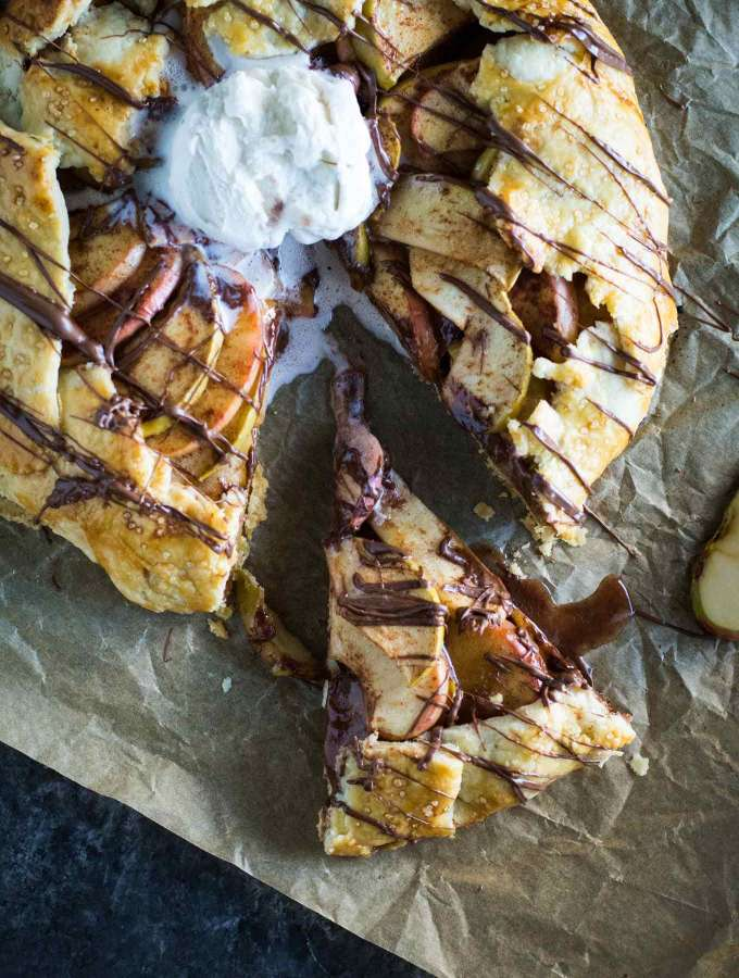 A rustic apple galette with a creamy nutella layer! This easy fall recipe is perfect for dessert and incredible with a scoop of vanilla ice cream!