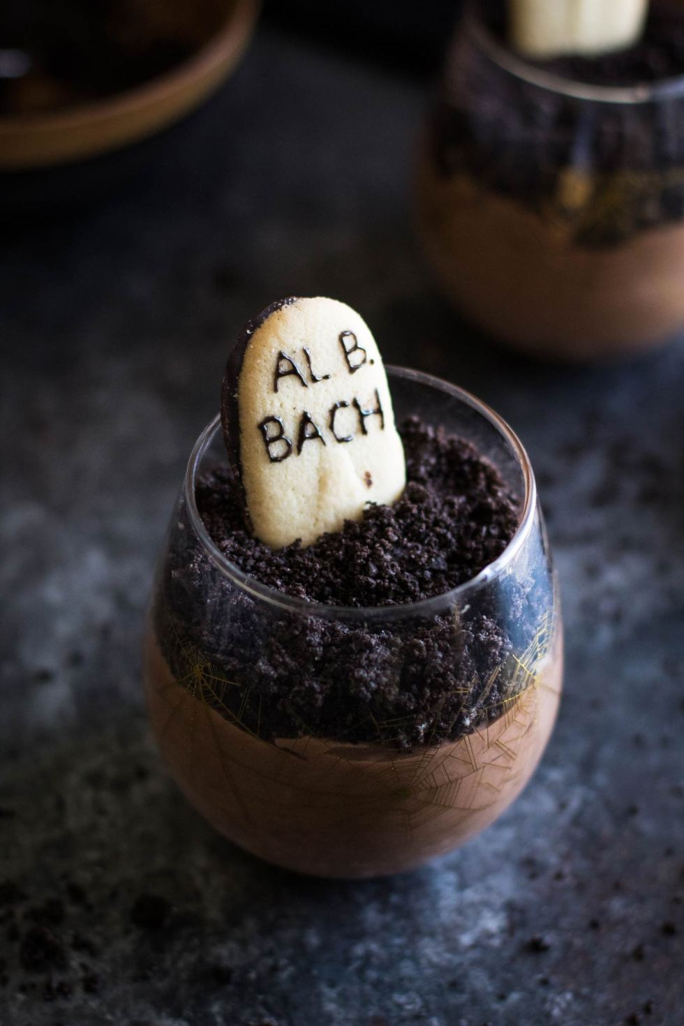 Close-up of graveyard chocolate mousse with oreo cookie topping