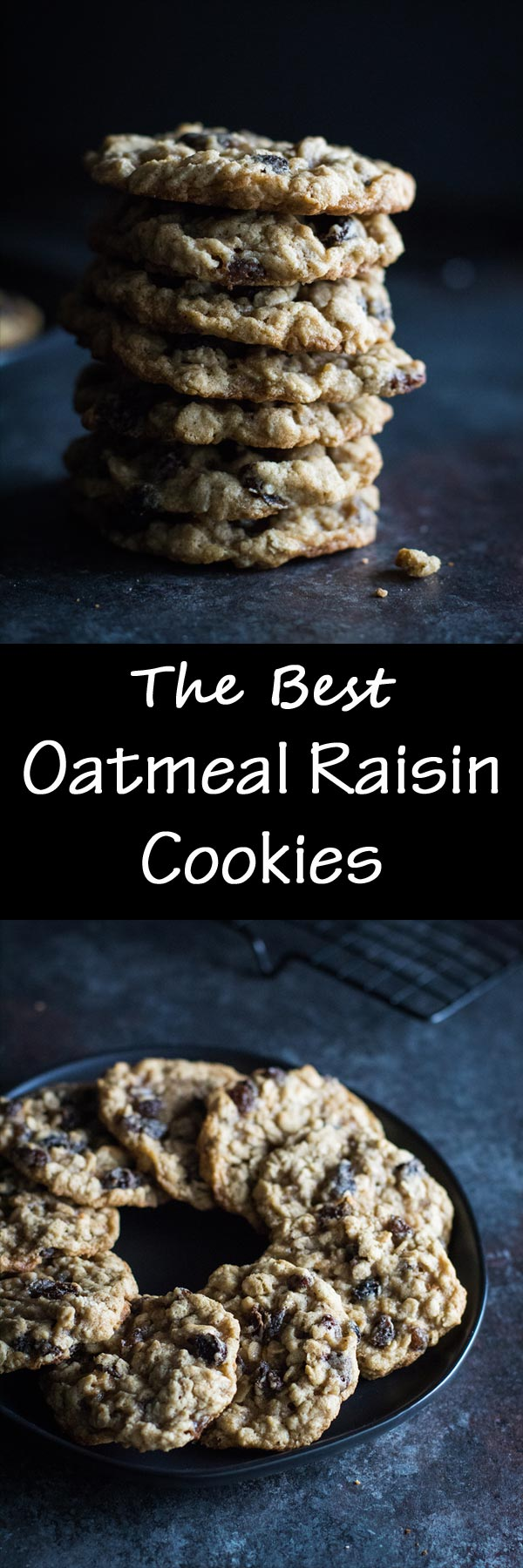 This recipe for oatmeal raisin cookies has directions to make either thin and crispy oatmeal cookies or thick and chewy oatmeal cookies! Maple-soaked raisins help keep these cookies moist and soft!