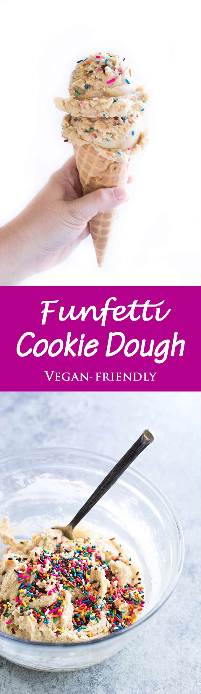 Eggless edible funfetti cookie dough with loads of sprinkles! A fun snack or colorful dessert!