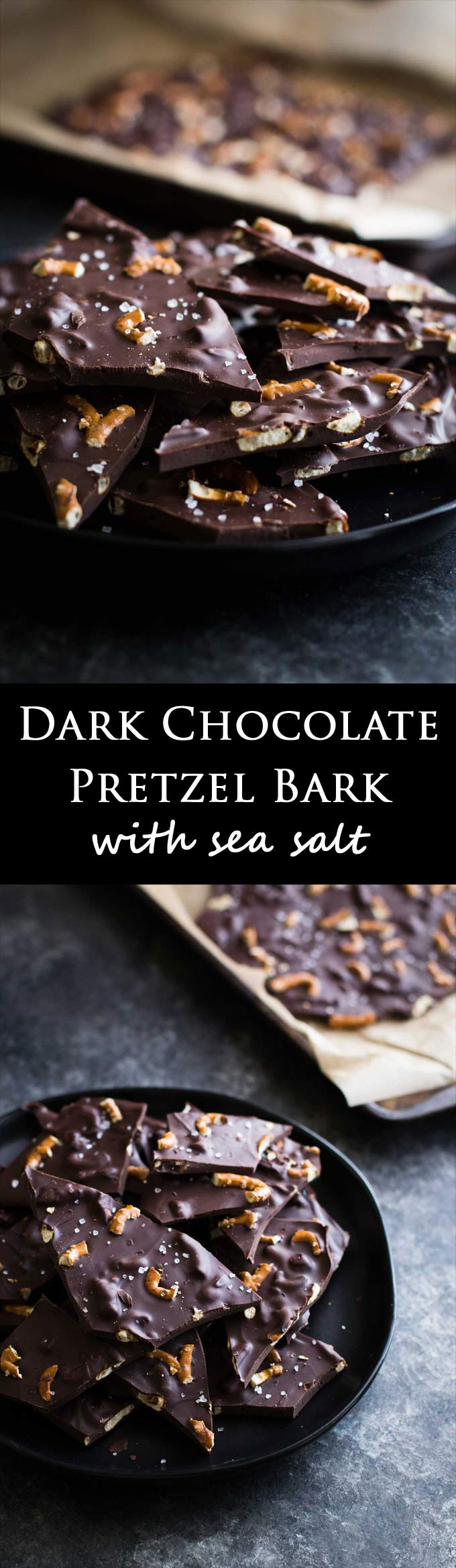 Dark chocolate bark filled with crunchy pretzels and sprinkled with sea salt! A salty sweet snack that is perfect for parties!