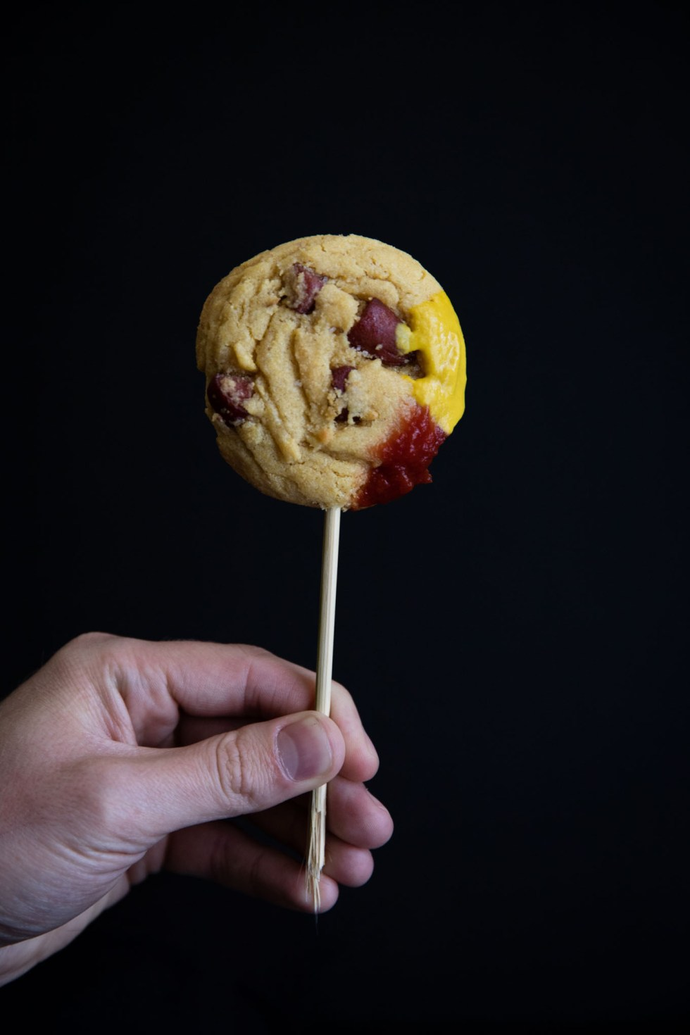 Close-up of a corn dog cookie on a stick! Just like a trip back to the carnival!