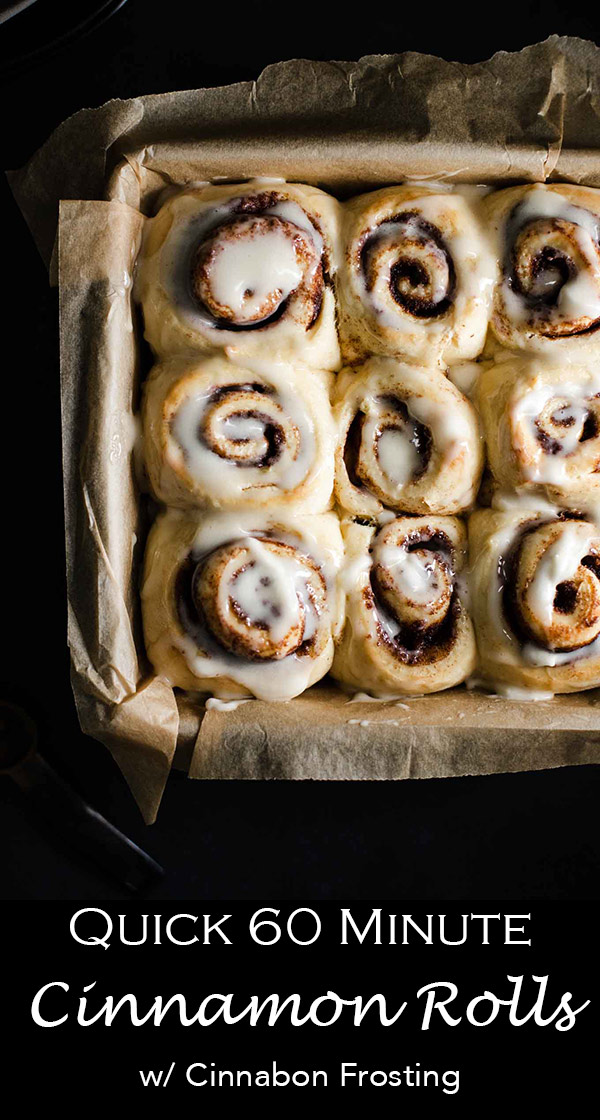 Fast and easy cinnamon rolls that are ready to eat in an hour! These breakfast treats are frosted with a cinnabon copycat frosting and filled with cinnamon sugar!