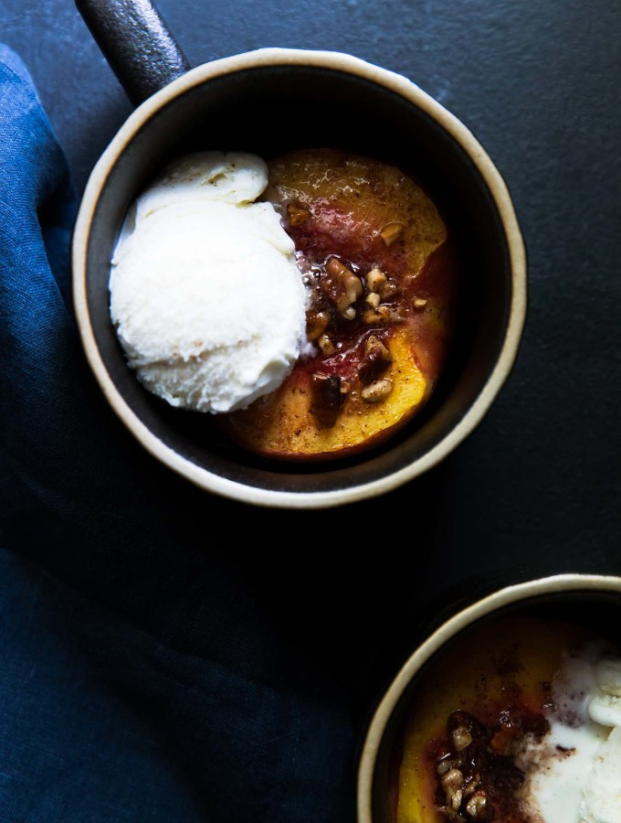 Roasted peaches with vanilla bean ice cream