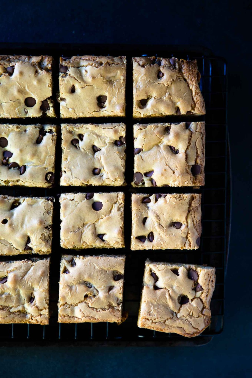 Caramel blondies cooling on a wire rack