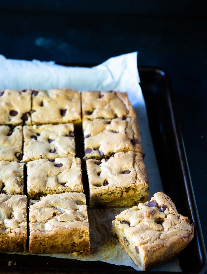 Pan of caramel blondies
