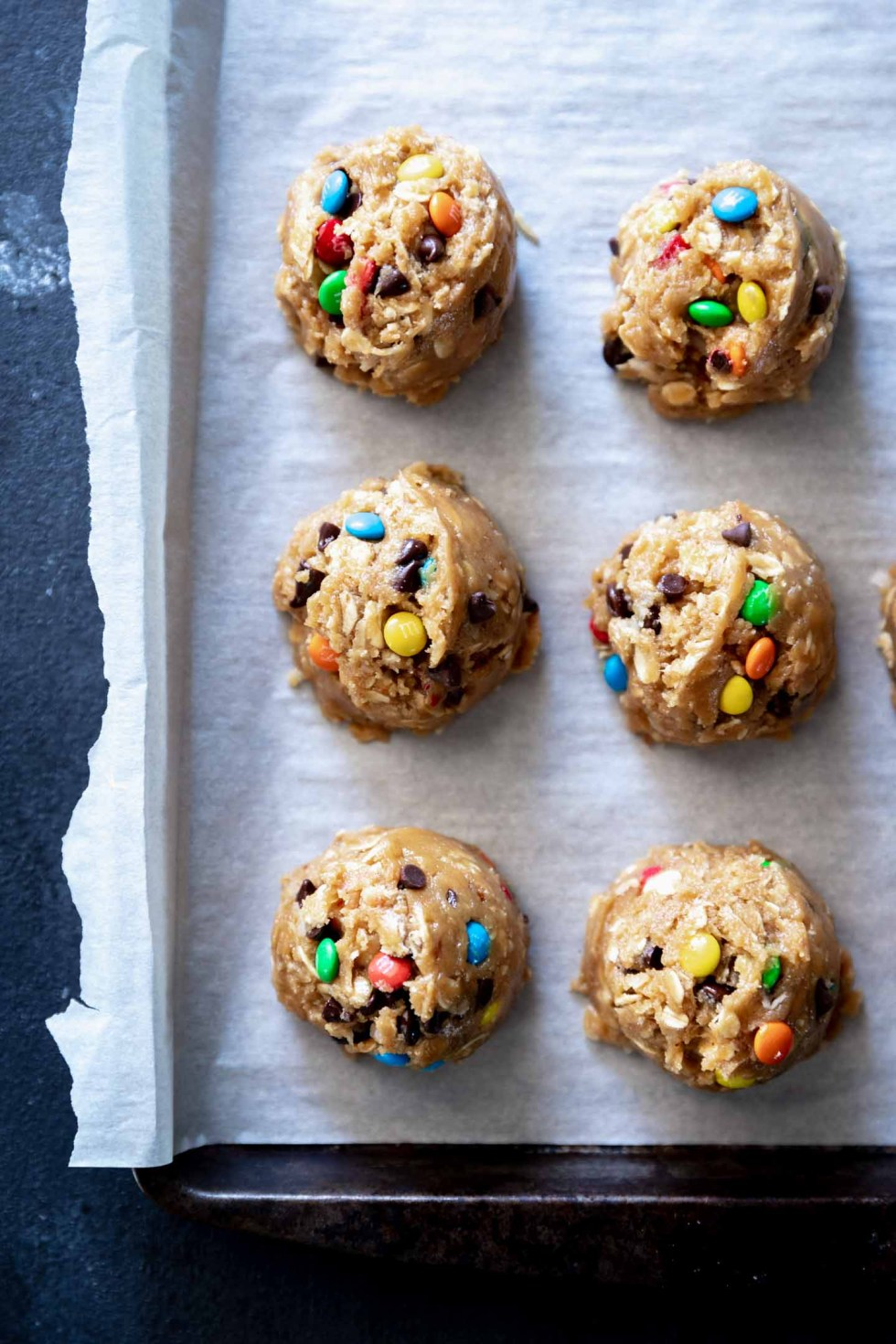 Cookie dough balls side-by-side
