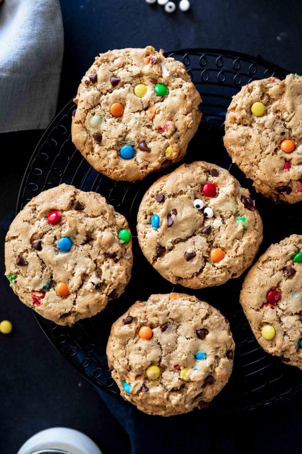 Overhead shot of monster cookies