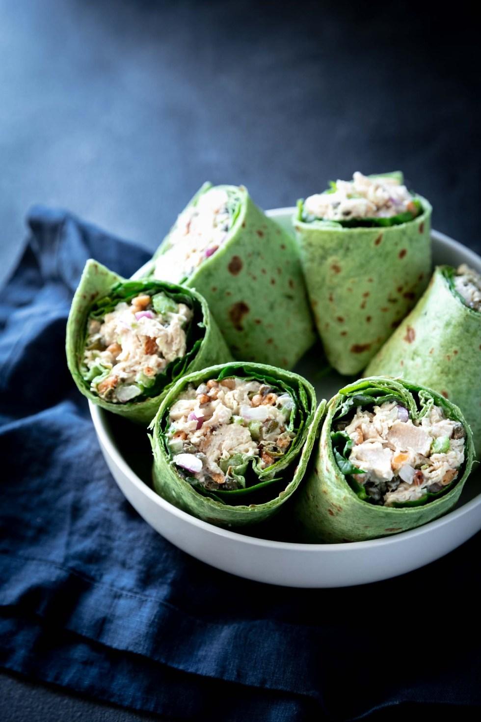 Chicken salad wraps in green spinach wraps