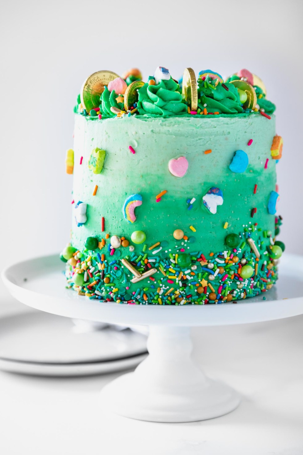 Front view of a green ombre cake with rainbow sprinkles and gold coins on top.
