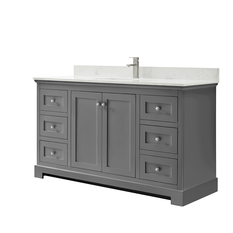 ryla 60 single bathroom vanity in dark gray carrara cultured marble countertop undermount square sink and no mirror