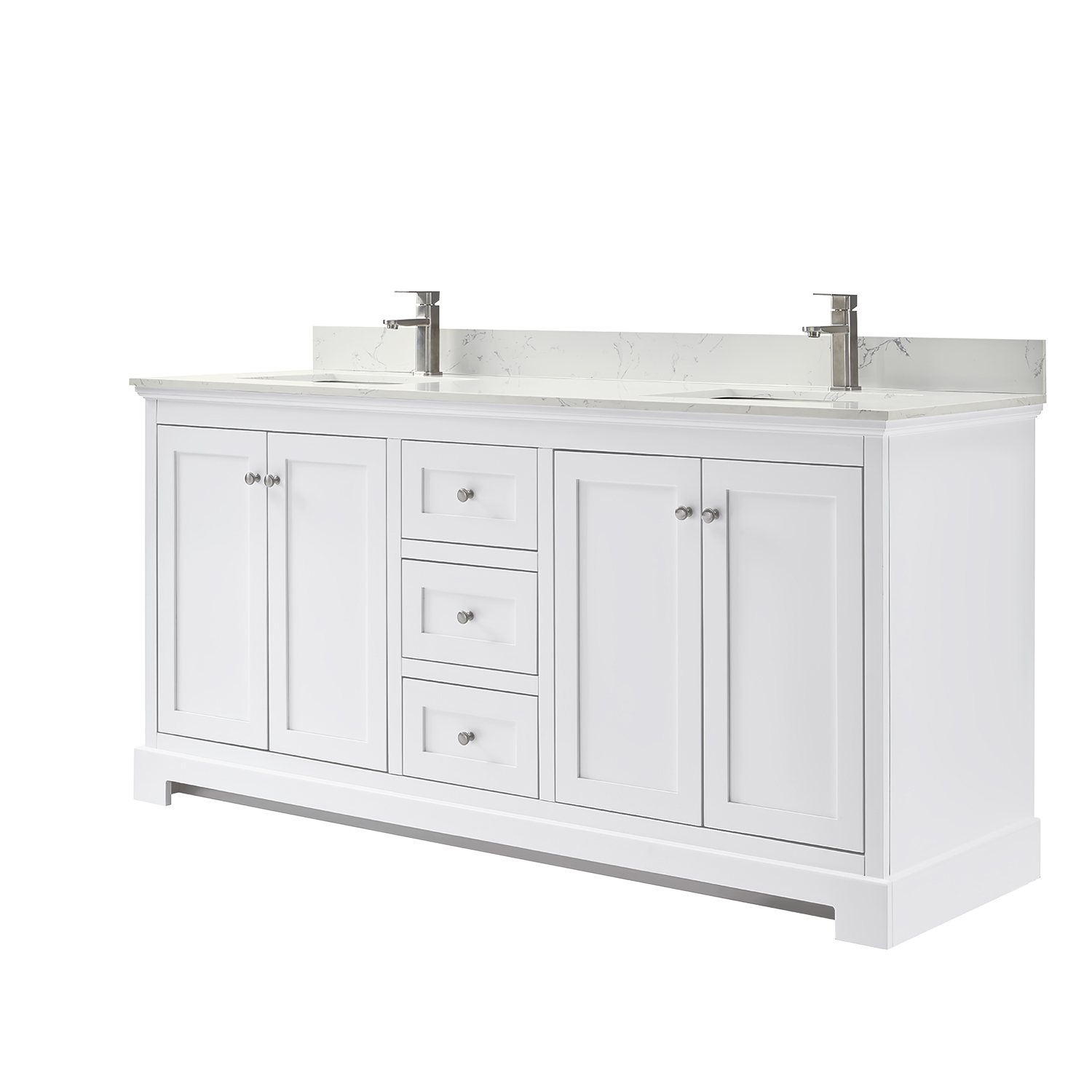 ryla 72 double bathroom vanity in white carrara cultured marble countertop undermount square sinks and no mirror