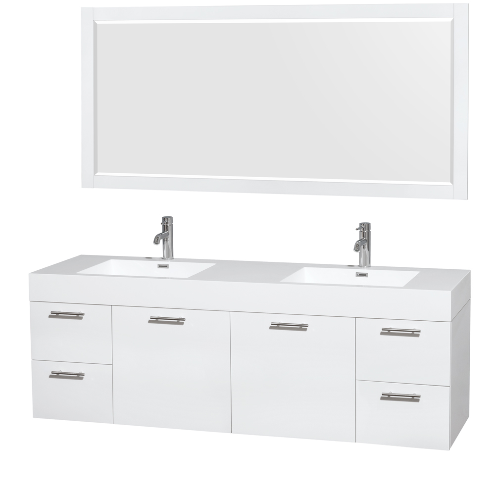 amare 72 double bathroom vanity in glossy white acrylic resin countertop integrated sinks and 70 mirror