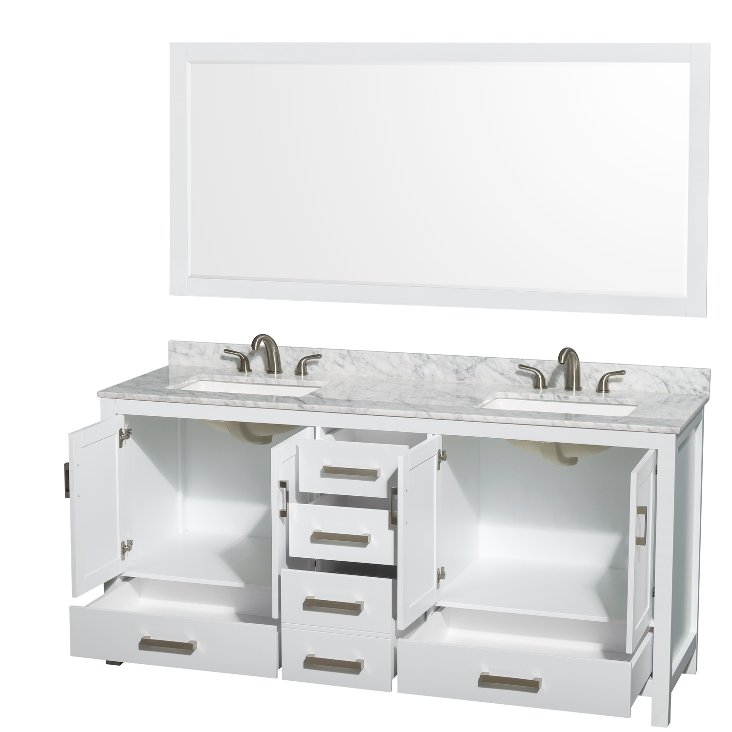 sheffield 72 double bathroom vanity in white with white carrara marble countertop undermount square sinks 3 hole and 70 mirror