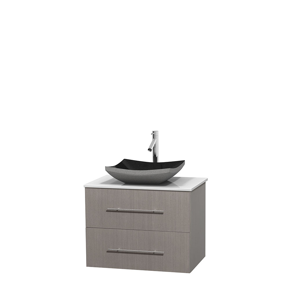 centra 30 single bathroom vanity for vessel sink gray oak