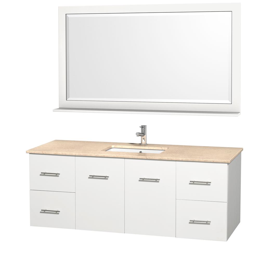 centra 60 single bathroom vanity for undermount sinks matte white