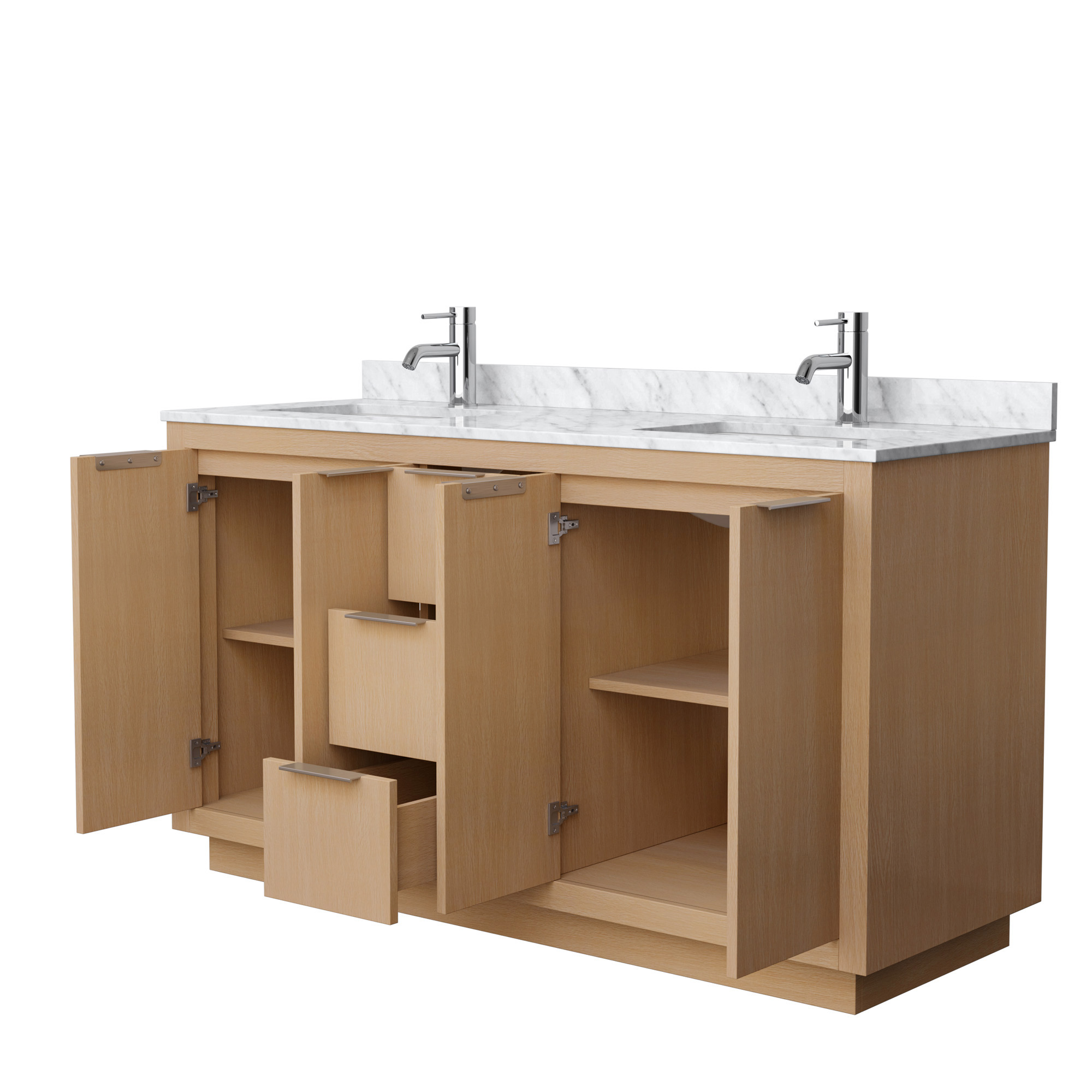 maroni 60 double vanity with carrara marble counter light straw