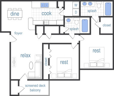 2 Bed / 2 Bath / 1,141 sq ft / Rent: Call for Pricing