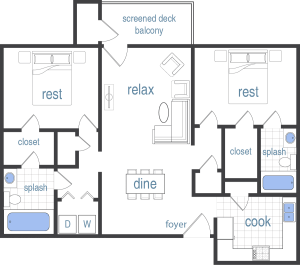 2 Bed / 2 Bath / 1,185 sq ft / Rent: Call for Pricing