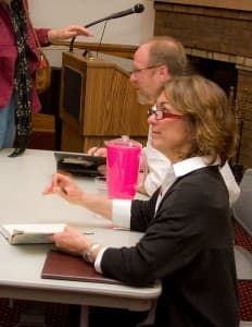 Laura Bell and Mark Spragg at a book signing in Lander, Wyoming.