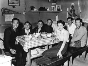 Family dines before departure to Heart Mountain Relocation Center