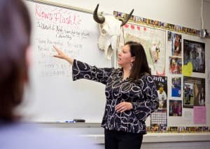 Lynette St. Clair goes over new vocabulary with her class.