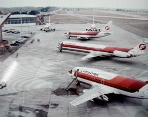 Frontier Airlines flew large jets into Cheyenne in the era before airline deregulation. Other Wyoming towns enjoyed similar quality of service, which airlines generally lost money on. After deregulation, jet service concentrated in hub airports, giving rise to the Essential Air Service.(WyoFile/Gregory Nickerson — Click to enlarge)
