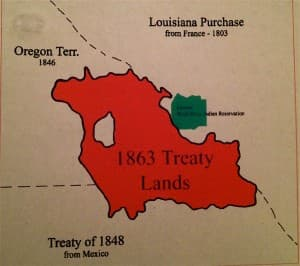 The relative size of tribal territories in 1863 and today. The green field is the 2.2 million-acre Wind River Indian Reservation in central Wyoming. The white field within the red is the present-day Shoshone-Bannock Tribes Reservation, also known as the Fort Hall Indian Reservation, near Pocatello, Idaho.