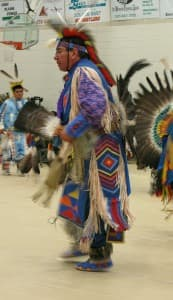 Dominic Littleshield, 50, studied at CWC and competed on the powwow circuit as a northern traditional dancer. Today, he is chairman of the school board at St. Stephens School.