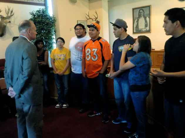 The Unity group spoke with the governor about their plans for a youth conference at St. Stephens School on Friday, June 8. Unity has organized travel, political activities and social events for young people on the reservation.