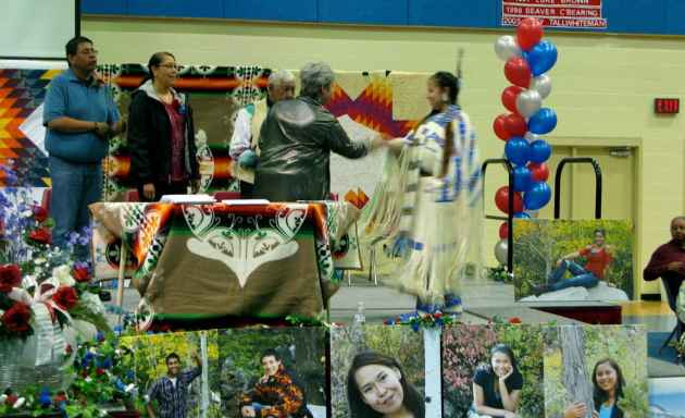Superintendent Michelle Hoffman congratulates a graduate at the Wyoming Indian graduation ceremony in May.