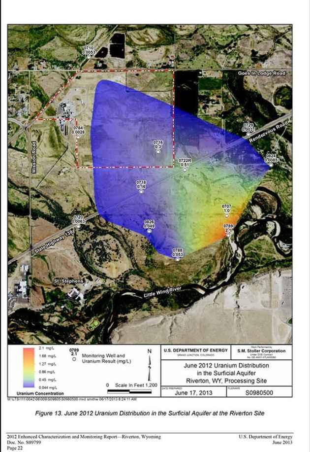 June 2012 Uranium Distribution in the Surficial Aquifer at the Riverton Site.