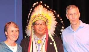 Sally Jewell and Arne Duncan with Darwin St. Clair, the chairman of the Eastern Shoshone tribe. (Susan Benepe photo — click to enlarge)