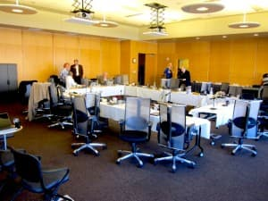 The board of trustees meeting room on the top floor of Coe library, where an executive session lasting eight hours was held on November 14, 2013 to negotiate the terms of Sterberg's resignation. The process was slowed down because with Sternberg's lawyer in Washington D.C. had to attend to other matters during the day. (WyoFile/Gregory Nickerson — click to enlarge)