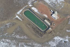This water treatment facility in the Powder River Basin was one of few facilities used to treat water produced from coal-bed methane gas wells. (Dustin Bleizeffer/WyoFile — click to enlarge)
