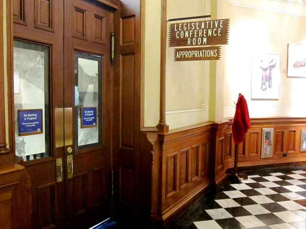 The Joint Appropriations Committee controls Wyoming's spending policy. The shape of the 2015-2016 budget will be laid out in this room in the capitol during for weeks of meetings in December and January. (WyoFile/Gregory Nickerson — click to enlarge)